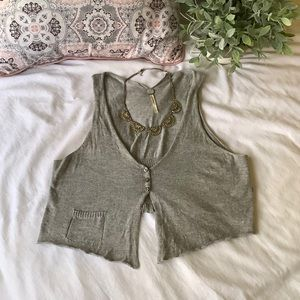 Margaret O'Leary Grey Sweater Crop Vest